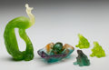 Art Glass:Daum, Five Small Daum Pate-de-Verre Glass Items. Peacock, leaf and beetledish, three frogs.. Late 20th century. Engraved Daum, ...(Total: 5 Items)