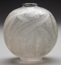 Art Glass:Lalique, R. Lalique Frosted Glass Palmes Vase. Circa 1923. Molded R.LALIQUE, MADE IN FRANCE. M p. 428, No. 952. Ht. ...