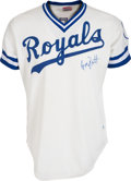 Baseball Collectibles:Uniforms, 1982 George Brett Game Worn Kansas City Royals Jersey, MEARS A10....