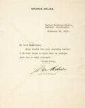 Autographs:Celebrities, Actor George Arliss Typed Letter Signed....