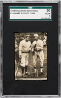 Baseball Cards:Singles (Pre-1930), 1928 Sociedade Industrail Babe Ruth & Ty Cobb #105 SGC 50 VG/EX4 - The Only Graded Example. ...