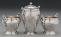 Silver Holloware, American:Open Salts, A Gorham Coin Silver Pepper Shaker and a Pair of Open Salts,Providence, Rhode Island, circa 1870. Marks: (lion-anchor-G), ...(Total: 3 )