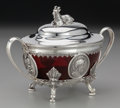 Silver Holloware, American:Other , A Reed & Barton Silver-Plated and Ruby Glass Covered Sweet MeatDish, Taunton, Massachusetts, circa 1850. Marks: REED &BA...