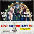 "Movie Posters:Drama, Love Me or Leave Me (MGM, 1955). Six Sheet (74"" X 74""). Drama.. ..."