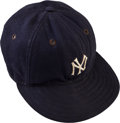 Baseball Collectibles:Others, 1946-48 Phil Rizzuto Game Worn New York Yankees Cap, MEARS Authentic....