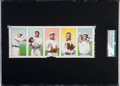 Baseball Cards:Lots, 1909 T212-1 Obak Cigarettes Proof Strip With 5 Players - The Only1909 Obak Proofs Known! ...