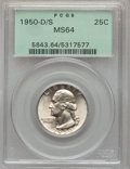Washington Quarters: , 1950-D/S 25C MS64 PCGS. PCGS Population (28/27). NGC Census:(15/6). Mintage: 21,075,600. Numismedia Wsl. Price for problem...