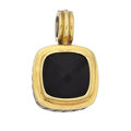Estate Jewelry:Pendants and Lockets, Black Onyx, Gold Sterling Silver Pendant, David Yurman. ...
