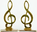 Books:Furniture & Accessories, [Bookends]. Pair of Matching Brass Treble Clef Bookends. Unsigned,undated. ... (Total: 2 Items)