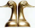 Books:Furniture & Accessories, [Bookends]. Pair of Matching Brass Duck Bookends. Designed byHimark, circa 1980.... (Total: 2 Items)
