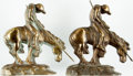 Books:Furniture & Accessories, [Bookends]. Pair of Matching Bronze Bookends Depicting Horse and Rider. Unsigned, undated. ... (Total: 2 Items)