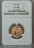 Indian Half Eagles: , 1908-S $5 AU55 NGC. NGC Census: (91/349). PCGS Population (36/350).Mintage: 82,000. Numismedia Wsl. Price for problem free...