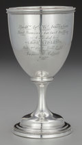 Silver Holloware, American:Cups, An American Coin Silver Agricultural Trophy Goblet, circa 1859.Engraved to underside: J. Knepfly N. Albany Ind.. 5-7/8 ...