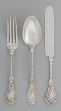 Silver & Vertu:Flatware, A Three Piece Wood & Hughes Medallion Pattern Silver Youth Set in Original Fitted Case, New York, New York, desi... (Total: 4 )
