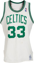 Basketball Collectibles:Uniforms, 1986-87 Larry Bird Game Worn Boston Celtics Jersey, MEARS A10....