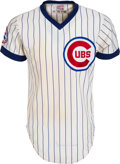 Baseball Collectibles:Uniforms, 1976 Ernie Banks Game Worn, Signed Chicago Cubs Coach's Jersey. ...