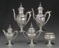 Silver & Vertu:Hollowware, A Five Piece Wood & Hughes Partial Gilt Coin Silver Medallion Tea and Coffee Service, New York, New York, circa ... (Total: 5 )