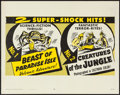 "Movie Posters:Adventure, Beast of Paradise Isle/Creatures of the Jungle Combo (MutualProductions, R-1957). Half Sheet (22"" X 28""). Adventure.. ..."