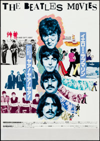 """Hard Day's Night/Yellow Submarine Combo (Herald Pictures, R-1970s). Japanese B2 (20.25"""" X 28.5""""). Rock and Rol..."""