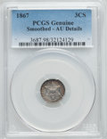 Three Cent Silver, 1867 3CS -- Smoothed -- PCGS Genuine. AU Details. NGC Census: (0/40). PCGS Population (2/47). Mintage: 4,000. Numismedia Ws...