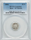 Three Cent Silver, 1866 3CS -- Bent -- PCGS Genuine. XF Details. NGC Census: (0/80). PCGS Population (3/86). Mintage: 22,000. Numismedia Wsl. ...