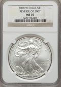 Modern Bullion Coins, 2008-W $1 Silver Eagle, Reverse of 2007, Burnished, MS70 NGC. NGC Census: (4929). PCGS Population: (592)....