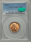 Lincoln Cents, 1934 1C MS67+ Red PCGS. CAC....
