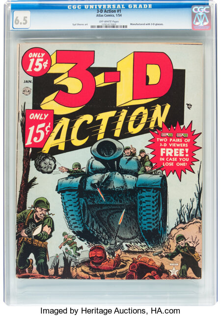 3-D Action #1 (Atlas, 1954) CGC FN+ 6.5 Off-white pages....