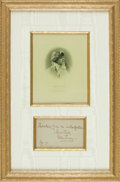 Autographs:Celebrities, Ellen Terry, English stage actress (1847-1928). Framed AutographNote Signed, with Engraved Portrait. Dated September 1893. ...