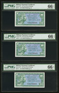 Military Payment Certificates:Series 611, Series 611 10¢ Six Examples PMG Gem Uncirculated 66 EPQ.. ... (Total: 6 notes)
