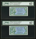 Military Payment Certificates:Series 611, Series 611 10¢ Two Examples PMG Superb Gem Unc 67 EPQ.. ... (Total: 2 notes)