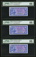 Military Payment Certificates:Series 611, Series 611 5¢ Five Examples PMG Graded.. ... (Total: 5 notes)
