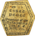 Colonial Notes:Massachusetts, Province of the Massachusetts June 1722 Three Pence Hexagonal Fr.MA-73. PCGS Very Fine 25.. ...