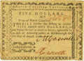 Colonial Notes:North Carolina, North Carolina August 8, 1778 $5 Independence Fr. NC-176b. PCGS Extremely Fine 40 PPQ.. ...