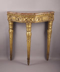 Furniture , An Italian Neoclassical Style Giltwood Console Incorporating 18th Century and Later Elements. . Giltwood, marble. 39.25 inch...