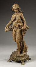 Sculpture, A Terracotta Group of a Maiden and Putto . . After Clodion. 19th century. Terracotta. 30 inches (76.2 cm). ...