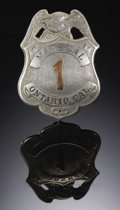 """Political:Ribbons & Badges, """"DEPUTY MARSHALL #1"""" ONTARIO, CALIFORNIA - ca 1890's-1900's - This is a very nice Deputy Marshal #1 badge, 1 7/8"""" diameter i... (Total: 1 Item)"""