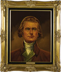 """Political:3D & Other Display (1896-present), Thomas Jefferson and Martha Jefferson Oil Portraits by Lawrence Williams. Each oil portrait is 16"""" x 20"""" and framed in gilt ... (Total: 2 Item)"""