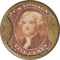 Encased Postage: , HB-186 EP-87 Scott-138 Reed-NO03 5¢ John W. Norris Extremely Fine..Numerical grade: 80case.75stamp.75mica. = 230...