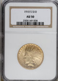 Indian Eagles: , 1910-S $10 AU50 NGC. NGC Census: (22/819). PCGS Population(85/818). Mintage: 811,000. Numismedia Wsl. Price for NGC/PCGS c...