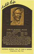 Autographs:Post Cards, Satchel Paige Signed Gold Hall of Fame Plaque. The ageless pitchinglegend Satchel Paige has applied his highly desirable ...