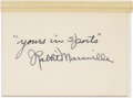 Autographs:Letters, Rabbit Maranville Cut Signature. The diminutive star of the MiracleBraves of the 1914 Miracle Braves Rabbit Maranville has...