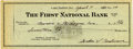 "Autographs:Checks, 1953 Mickey Cochrane Signed Check. The Hall of Fame catcher MickeyCochrane has signed this personal check dated 1953 ""Gord..."