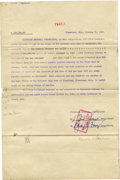 Autographs:Others, 1947 Bill Veeck Signed Contract. A 1947 financial contract betweenthe Cleveland Baseball Corporation and the city's Nation...
