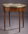 Decorative Arts, French, A Louis XVIth Walnut Bouillotte Table. . Unknown maker, French.Late 18th century. Walnut, marble, brass. Unmarked...