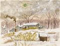 Fine Art - Painting, European:Contemporary   (1950 to present)  , MARY BURCHFIELD. Landscape, 1972. Watercolor on paper. 21 x27 inches (53.3 x 68.6 cm). Signed at lower right.. ...