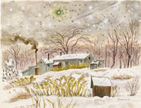 MARY BURCHFIELD Landscape, 1972 Watercolor on paper 21 x 27 inches (53.3 x 68.6 cm) Signed at