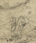 Fine Art - Painting, European:Antique  (Pre 1900), Attributed to WILLIAM MAW EGLEY (British 1826-1916). Caliban, Iliphano, Isinado and Arice from 'The Tempest'. Pencil...