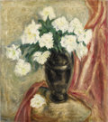Fine Art - Painting, European:Other , ARTIST UNKNOWN. Still Life with Flowers. Oil on canvas. 32 x 28 inches (81.3 x 71.1 cm). Signed indistinctly at lower le...