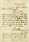"Autographs:Statesmen, 1861 Autograph Letter From the Governor of Ohio to PresidentAbraham Lincoln Regarding Militia Call Ups. One page, 5"" x 7.25..."